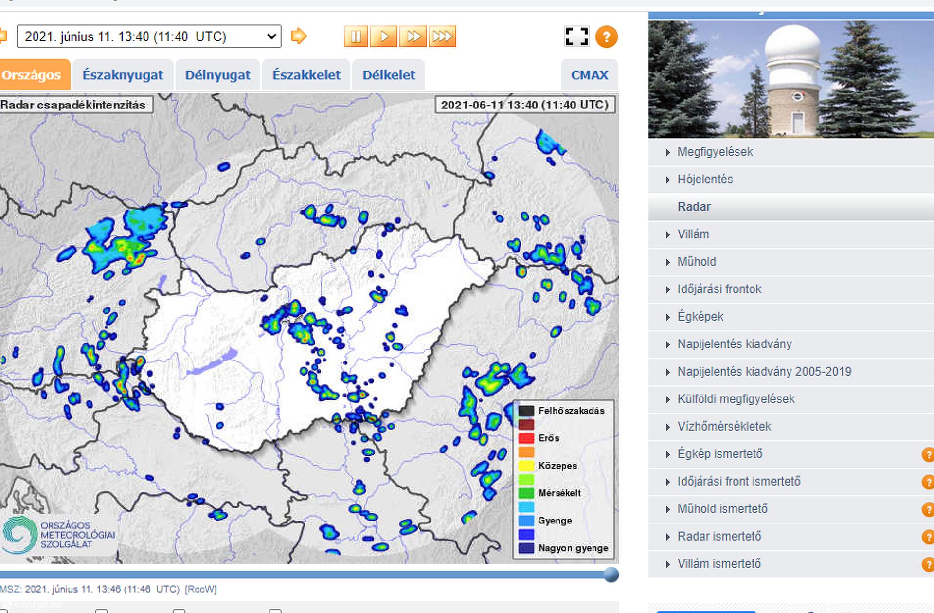 Az OMSZ radarfelvétele a péntek 13.40 órai állapotot mutatja.