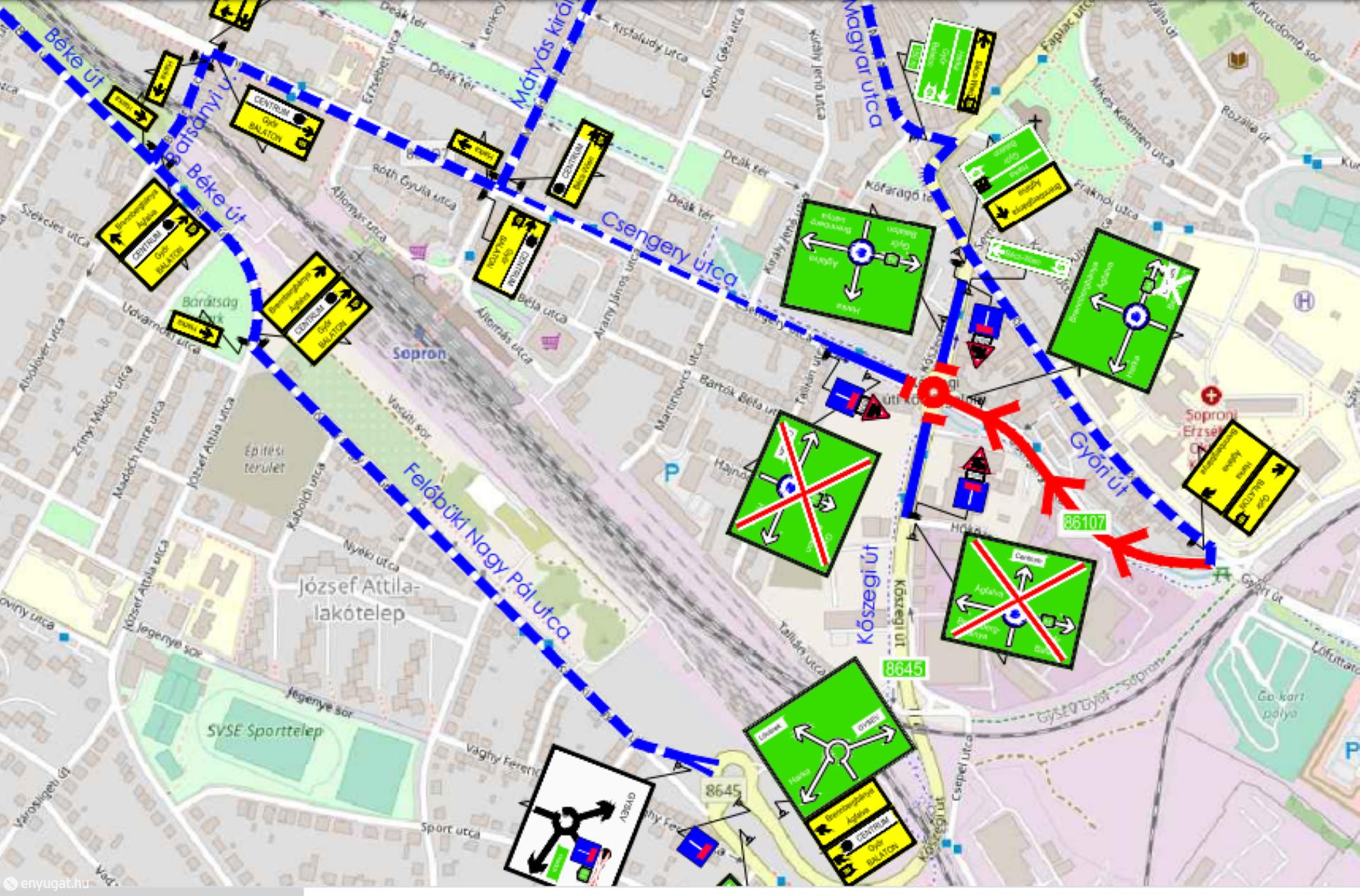A térkép segít a terelőútvonal áttekintésében