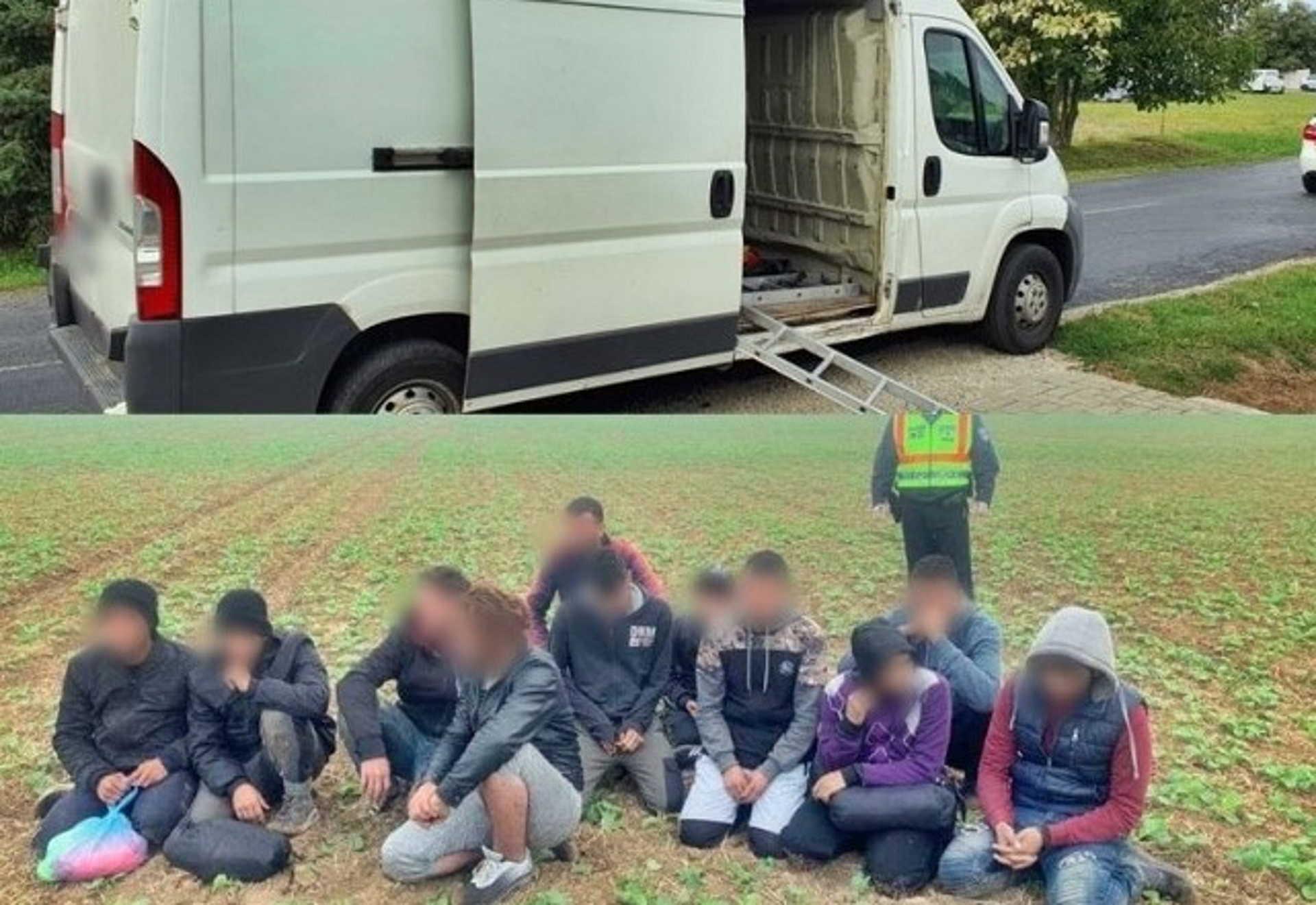 Az embercsempész autója és az elfogott menekültek.