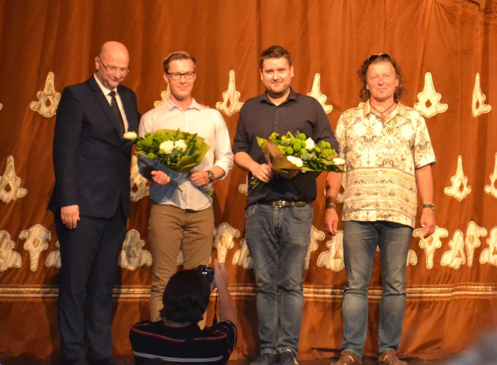 Pataki András, Vaszilij Nyemcsinov, Savanyu Gergely és Demcsák Ottó a díjátatón.