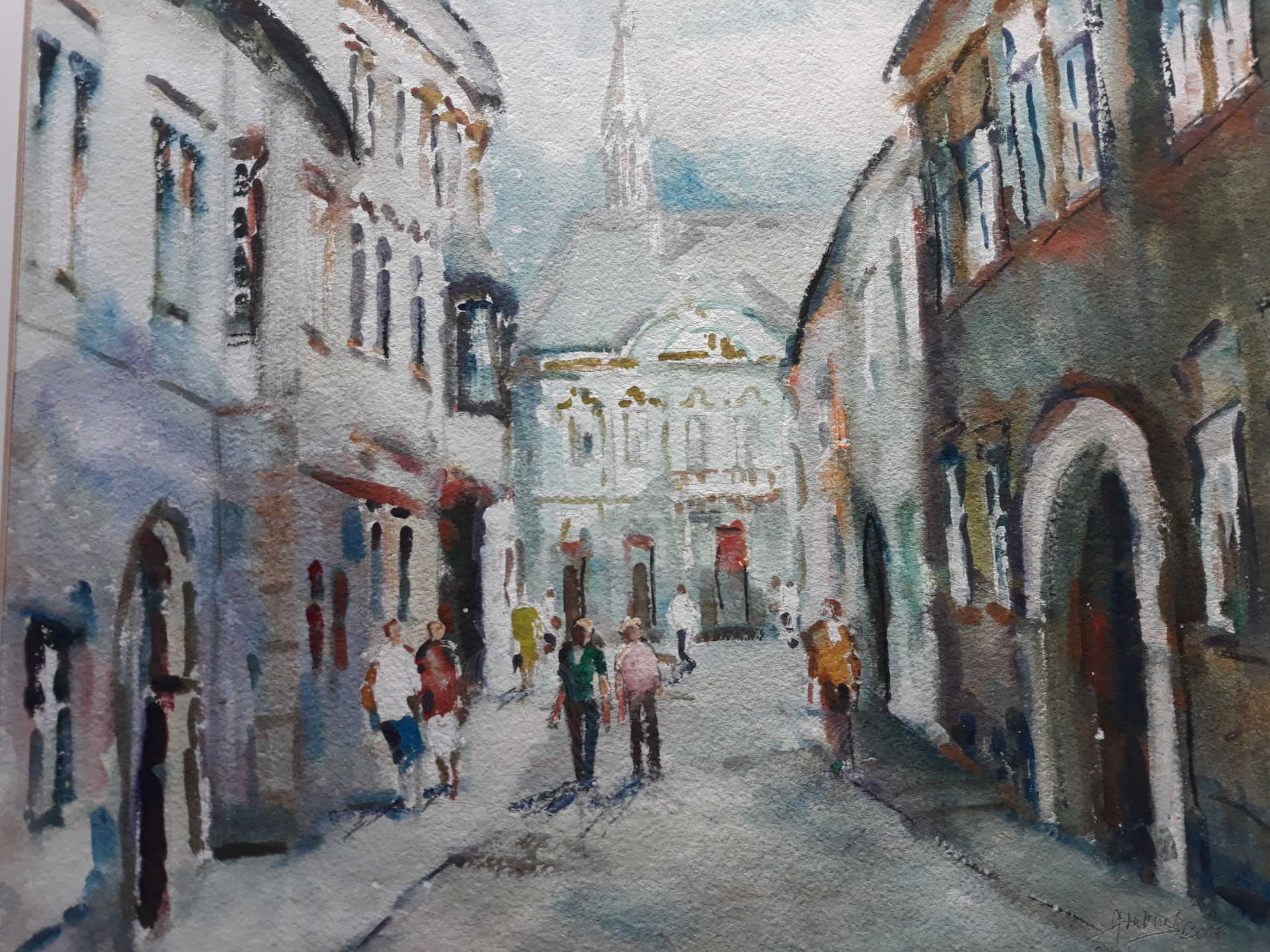 Grabner József akvarellje a soproni Templom utcáról.